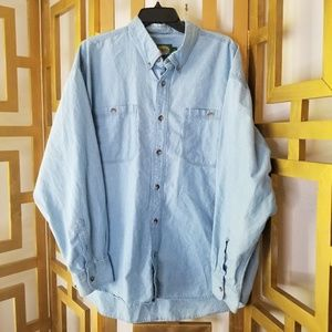 Cabela's Men Blue Chambray Button Down Long Sleeve